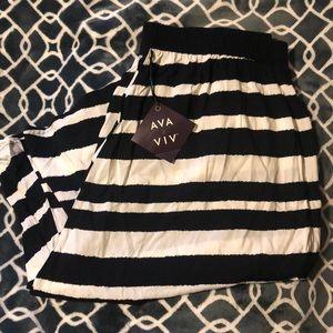 NWT Plus Size Striped Midi Skirt